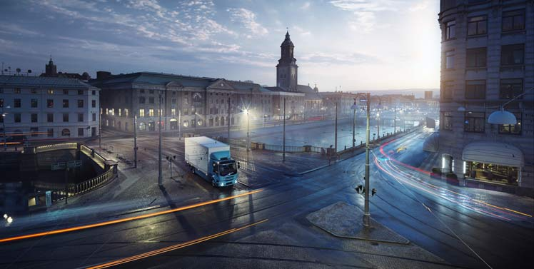 Image courtesy of Volvo Trucks - FL Electric in a city scape